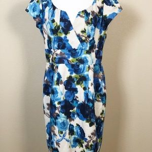 Eliza J Linen Blend Blue Dress Sz 14